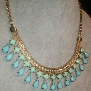 Gold Mesh Bar w/Crystals & Faceted Beads Statemen